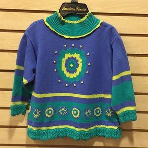 Sz 6x lace trim sweater